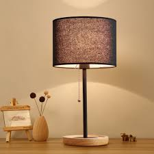 E14 Zipper Switch Table Lamp Solid Wood Bedside Lamp Linen Fabric