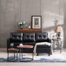 modern black pu leather sectional sofa