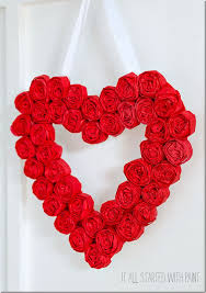 tissue paper rosette valentine day wreath 5 2