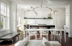 san francisco branch light fixture with crystal chandeliers dining room contemporary and waterfall counters white set