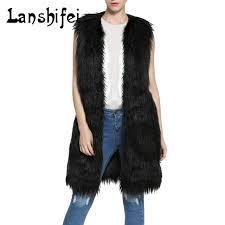 high quality fur vest coat 2017 winter warm luxury fur vest for women faux fur coat