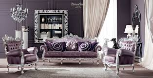 Silver Leaf Decoration Vogue Salon With Purple Upholsteries And Furniture Decorated With