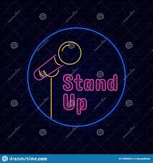 Logo Stand Light Stand Up Comedy Title Board Sign Logo Badge With Microphone