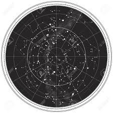 Celestial Map Of The Night Sky Astronomical Chart Of Northern