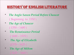 Ppt History Of English Literature The Beginnings