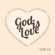 Verset De La Bible Pour Lévangéliste Et La Saint Valentin Jean 4 8 Dieu Est Amour Typographique En Forme De Coeur