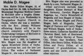Obituary for Mable Dillon Magee, 1935-1988 (Aged 53) - Newspapers.com