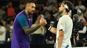 Nick kyrgios claimed the opening two sets but was unable to prevent world number three dominic thiem from nick kyrgios plays a backhand return against dominic thiem. Um4 Mogi 3wdom
