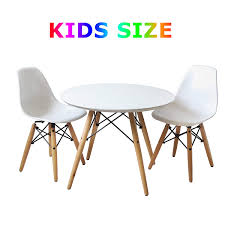 amazon buschman set of table and 2 white kids eames style retro modern dining room mid century s chair metal natural wood dowel leg base plastic