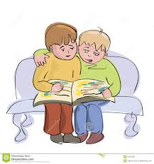 two little boys reading one book