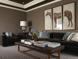 dark basement paint. Amazing Basement Family Room With Taupe Grasscloth Wallpaper, Tray Ceiling Painted Dark Brown, Horse Triptych Art, Chocolate Brown Velvet Sofa And Chair Paint