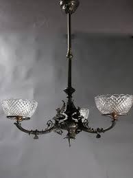 3 light neo grec egyptian revival gas chandelier