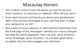 aim how can we prepare topics for our college essays ppt video  3 macaulay honors