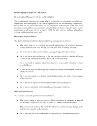 Housekeeping Responsibilities Cover Letter Sample
