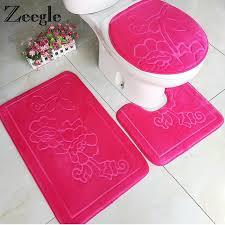 zeegle 3pcs bathroom mat set solid bath mats anti slip bathroom rugs and toilet mat bathroom s