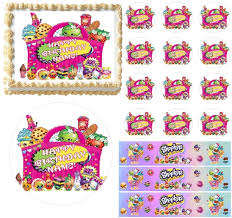 Shopkins Characters In A Basket Edible Cake Topper Image Frosting