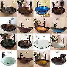 glass bathroom sinks. Bathroom Tempered Glass Vessel Sink Bowl Faucet Pop-up Drain Bath Basin Combo Sinks