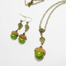 autumn jewelry acorn necklace oak leaf necklace green with real acorn caps