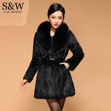 2018 big size 5xl 6xl warm winter women s medium long fox fur collar thick faux fur coats black white rabbit coat with belt from waxeer 87 93 dhgate com