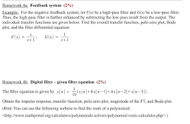 Solved Homework 4a Feedback System 2 Example For The