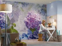 Praxis Grote Blauw Paarse Bloemen Op De Muur Behang Inspiratie