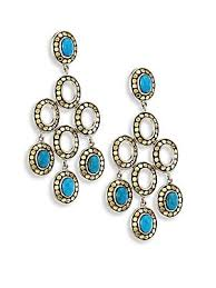john hardy dot turquoise 18k yellow gold chandelier earrings
