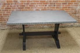 pure zinc table with painted base