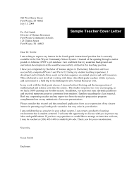 Sample Cover Letter For Teacher Resume Free For Download Business