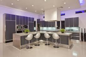 cozy modern minimalistic kitchen design with fluorescent led kitchen ceiling lighting