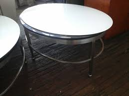 oval coffee table white glass black