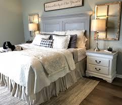 modern farmhouse decor bedroom unique grey panel headboard neutral bedding modern farmhouse style bedroom