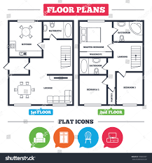 floor plan with furniture. architecture plan with furniture house floor icons cupboard chair and