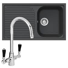schock lithos d100 1 0 bowl onyx black granite sink reginox brooklyn mixer tap