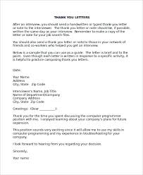 3 Thank You Letter After Interview Templates Free Sample Ideas