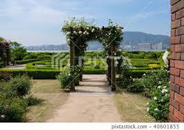english garden landscape stock photo