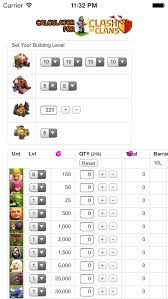 Clash Of Clans Troop Chart Troops And Spells Cost Calculator Time Planner For Clash Of