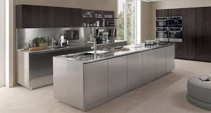 contemporary kitchen stainless steel island filofree steel antis fusion fitted kitchens euromobil