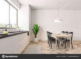 Moderne Esszimmer Und Küche Interieur Mit Weißen Wänden Ein