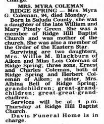 Myra Green Coleman Obituary - Newspapers.com