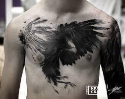 ворона в стиле треш полька на груди парня добавлено кирилл самарин