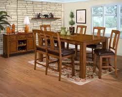 dining room rustic room tables shiny brown varnishes teak wood chairs beige eased