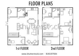 floor plan with furniture. architecture plan with furniture house first and second floor isolated on white background r