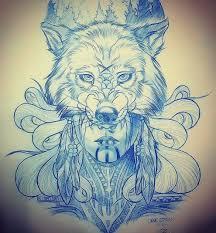 эскиз тату девушки с маской волка Draw It Up татуировки эскиз