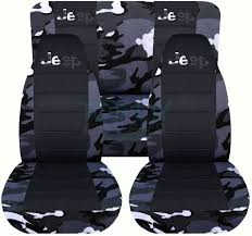 jeep wrangler gray camo and black seat covers with jeep logo