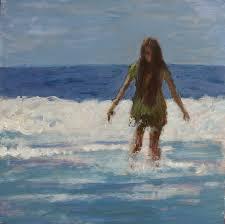 at sea painting sea ocean waves girl beach