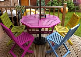 bright coloured furniture. bright painted garden furniture adds a bit of colour to the coloured