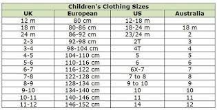 China Size Chart Compared To Usa Image Result For Chinese Childrens Size Conversion Chart