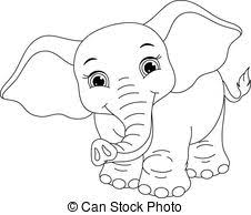 Small Picture EPS Vector of Baby elephant coloring page Cute little elephant