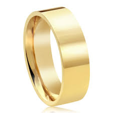 Double Accent 14k Yellow Gold 6mm Plain Comfort Fit Flat Style