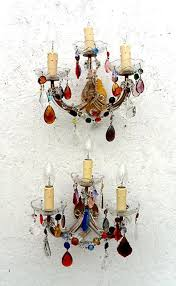 3 arm marie therese wall lights with multi coloured drops